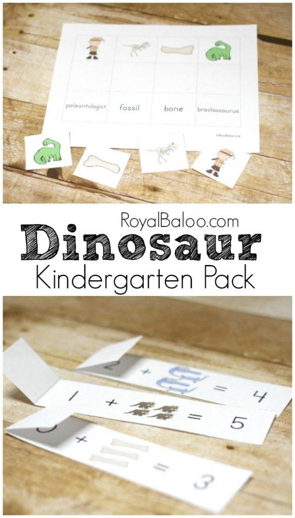 exciting dinosaur kindergarten pack for math and reading royal baloo. Black Bedroom Furniture Sets. Home Design Ideas